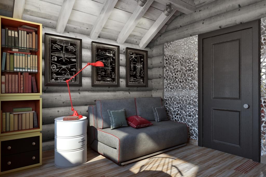 Хорошо подсвеченный угол для чтения книг. Тут и настольная лампа с потолочными прожекторами, и отраженный дневной свет от кусочков зеркала. Кусочки зеркала выложены хаотичной мозаикой и дают россыпь солнечных зайчиков по полу и стенам