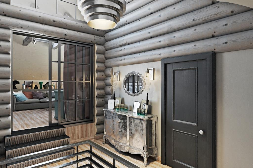 Металлические ступени ведут в приватную комнату отдыха хозяев. Отсекает это пространства раздвижная стеклянная перегородка из металлического каркаса. Еще при входе стоит красивый уголок с серебряным комодом и винтажным зеркалом