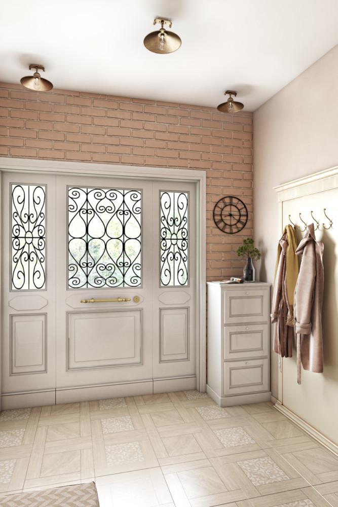 Прихожая встречает гостей уютом и теплыми красками. Кирпичная стена с двух сторон сразу задает настроение в стиле прованс, а кованные часы подсказывают время для тех, кто торопится по делам