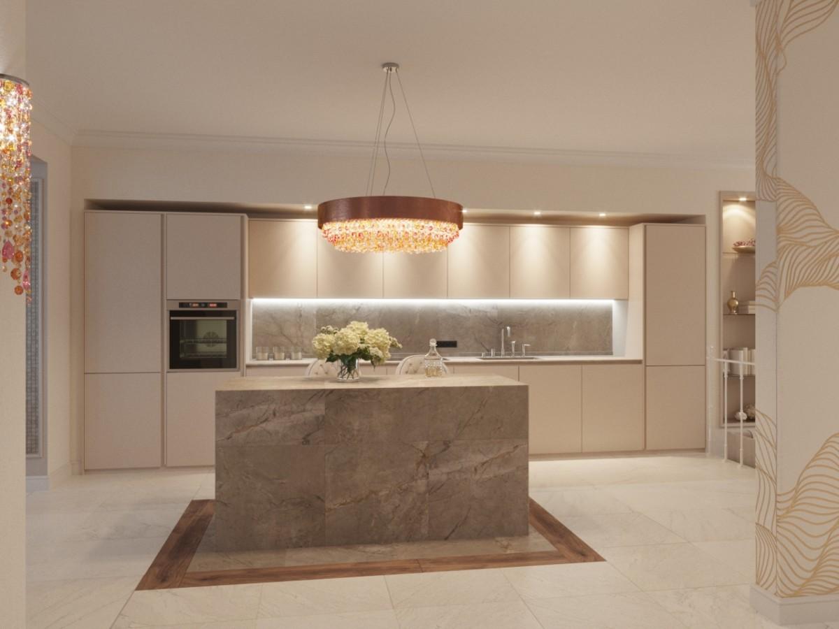 Кухню-столовую-гостиную украшает и зонирует остров