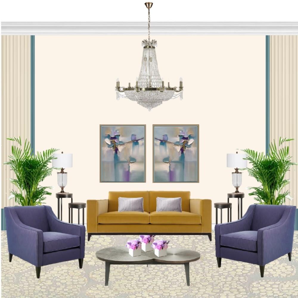 Гостиная в классическом стиле с яркими цветами