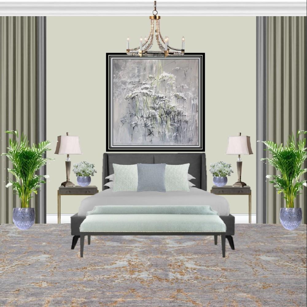 Спальня в светло-оливковых тонах