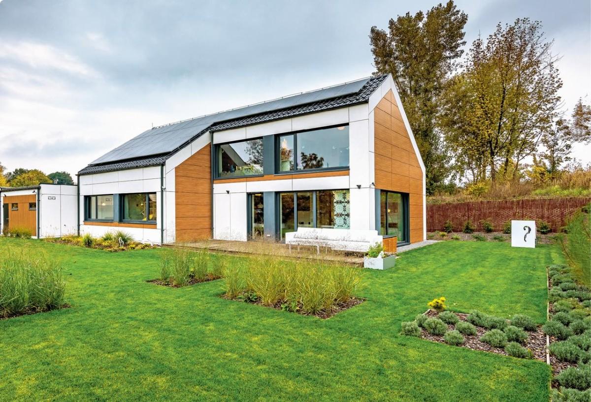 Архитектура, Энергосберегающие дома в  цветах:   Бежевый, Коричневый, Светло-серый, Темно-зеленый.  Архитектура, Энергосберегающие дома в  .