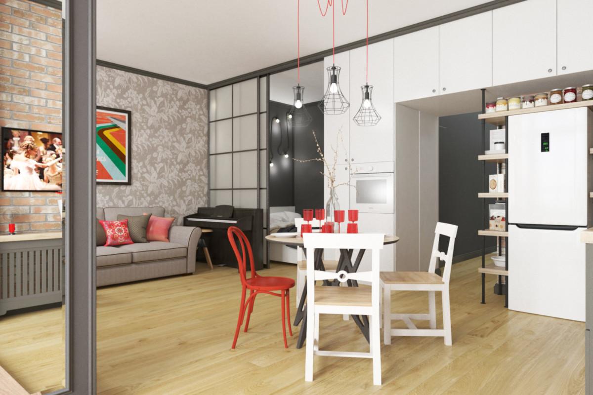 Как разместить кухню-гостиную, круглый стол, двуспальную кровать и кабинет в однокомнатной квартире