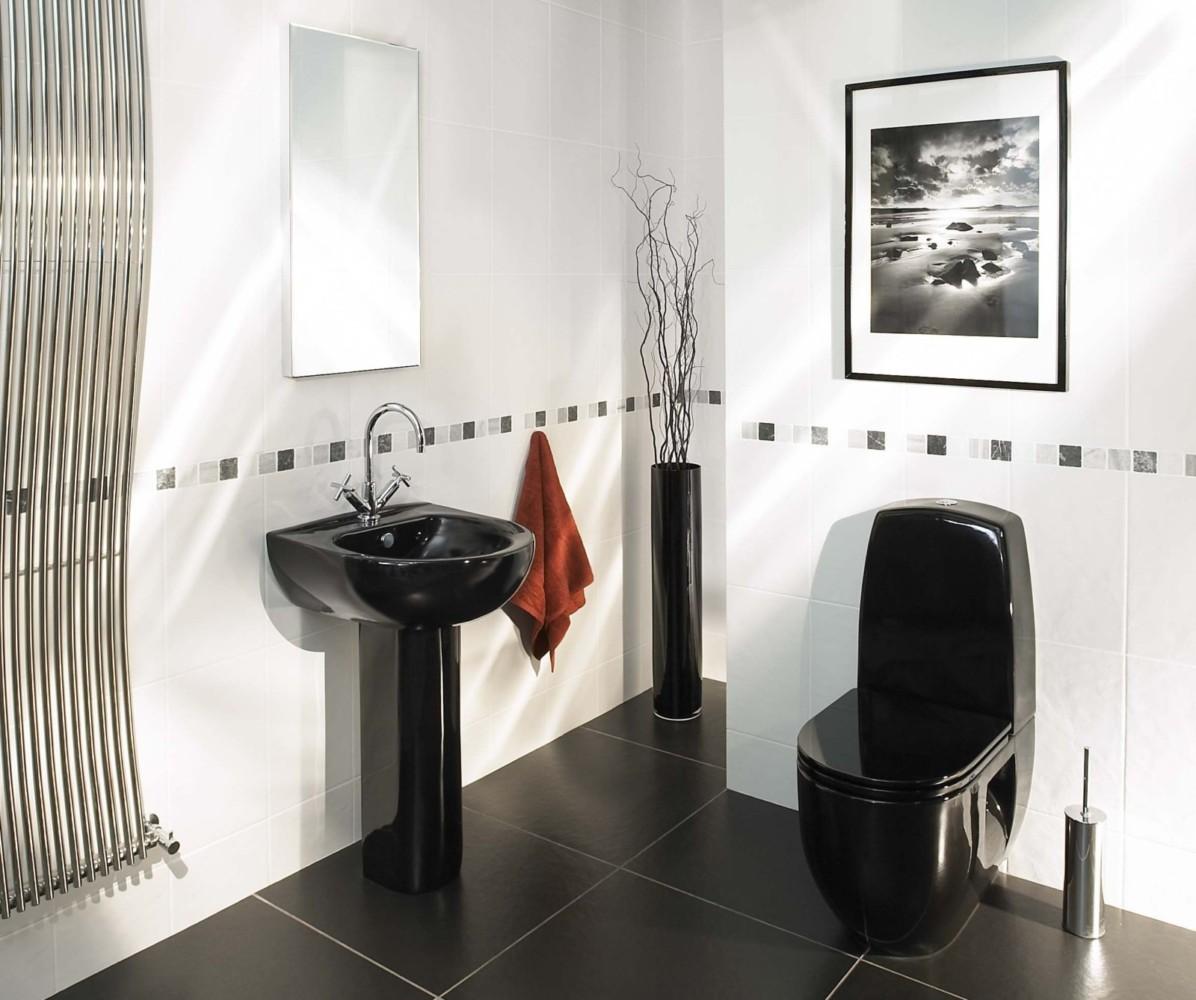 Чёрно-белый интерьер: эффектный дизайн туалета — лучшие идеи