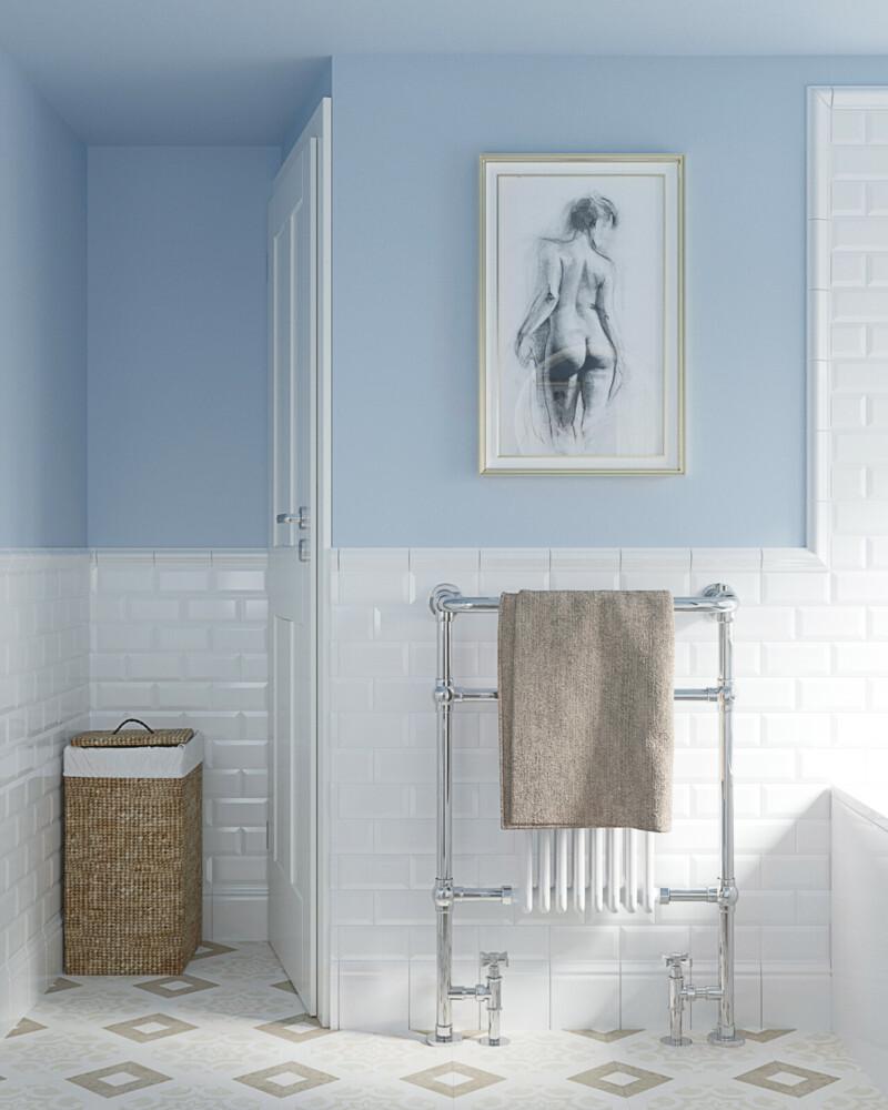 Ванная комната, которая сочетает в себе несколько оттенков голубого
