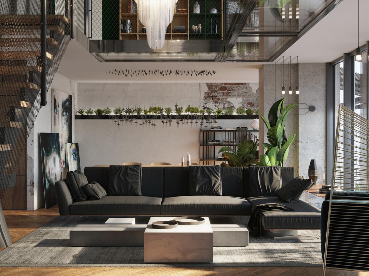 Двухуровневая квартира выполнена в стиле лофт.
