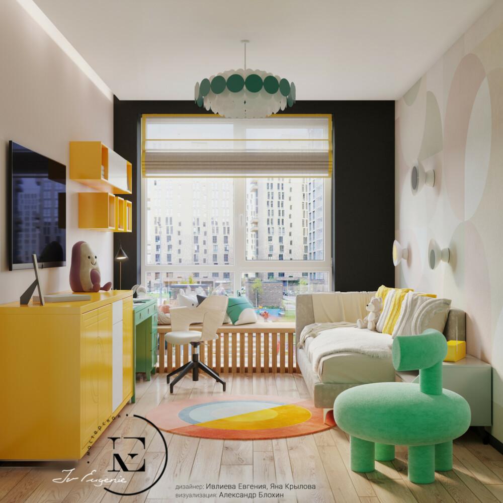 Также как и в других комнатах, в детской применен прием выкраса стены с окном в темный цвет. За счет него большое панорамное окно зрительно увеличивает поток дневного света в помещение. Посмотрите, как играет с цветом дизайнер! Ярко-желтый комод и полки хорошо сочетаются с детским креслом мятного цвета и таким же по цвету письменным столом.