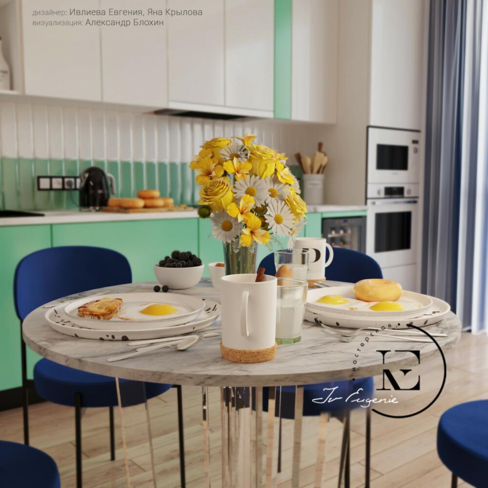 Круглый обеденный стол с мраморной столешницей хорошо сочетается с рабочей поверхностью кухонного гарнитура. За счет прозрачного основания, кажется, что стол парит в воздухе. Легкость и невесомость ощущается во всех деталях.